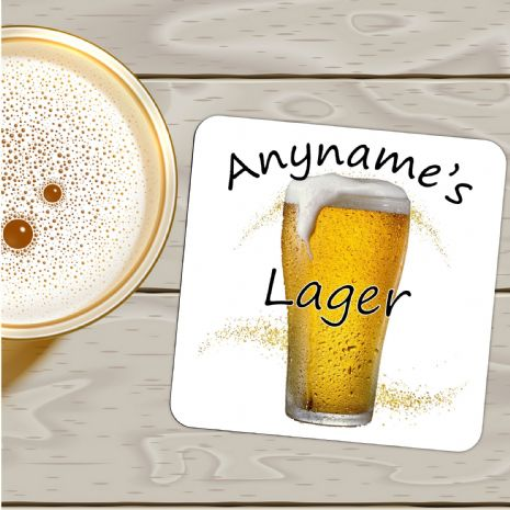 Personalised Any Name's LAGER Drinks Coaster N28 - Birthday, Christmas, Fathers Day Gift